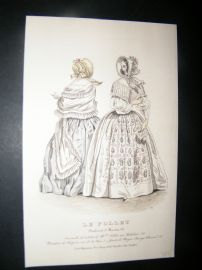 Le Follet C1850's Hand Colored Fashion Print 915A